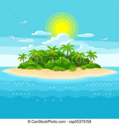 illustration of tropical island in clipart vector csp55375158