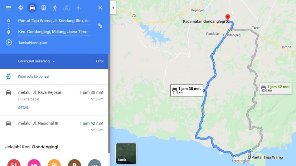 rute menuju pantai tiga warna lewat jalur lintas selatan